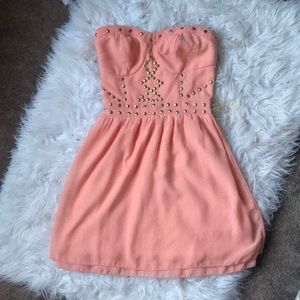 Charlotte Russe Pink and Gold Corset Dress